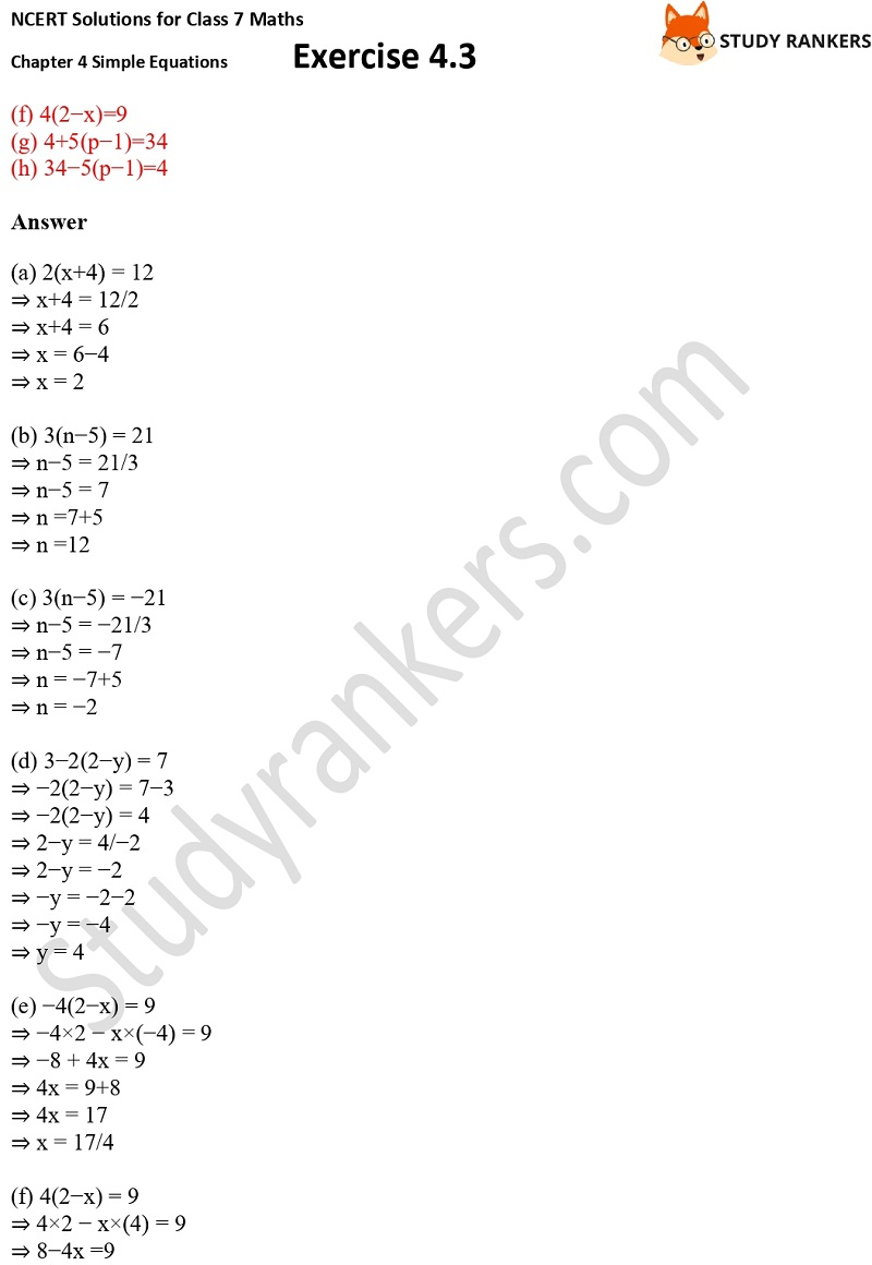 NCERT Solutions for Class 7 Maths Ch 4 Simple Equations Exercise 4.3 3