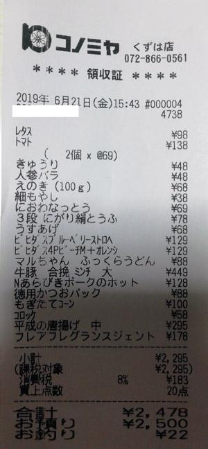 コノミヤ くずは店 2019/6/21 のレシート
