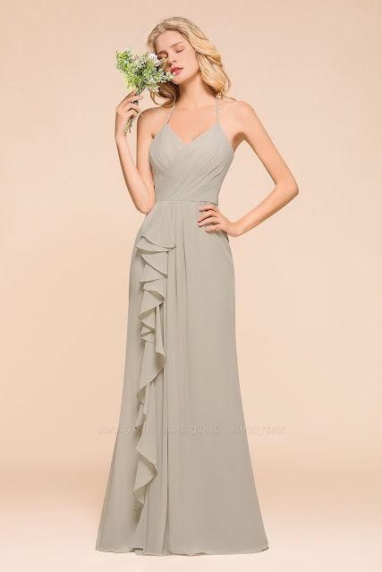 Affordable Halter Ruffle Silver Bridesmaid Dress