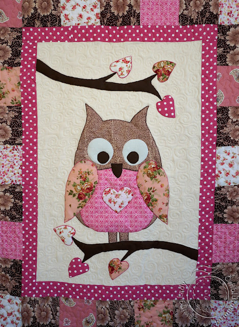 owl quilt, girls patchwork blanket
