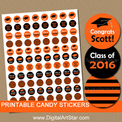 personalized graduation party favors - striped candy stickers in orange & black for the class of 2016