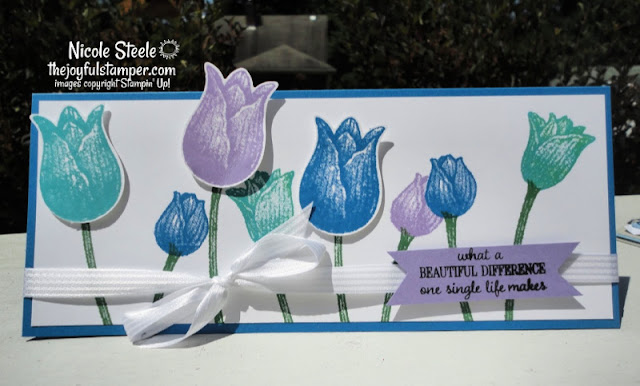 slimline card, timeless tulips, stampin' up!, stampin' up! demonstrator, cards with punches