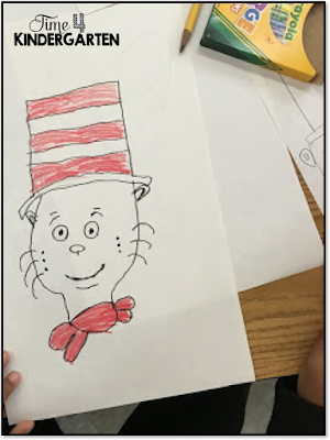 Dr. Seuss Week directed drawing in kindergarten