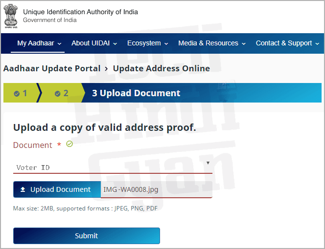 Aadhar Card Online Correction Upload Documents