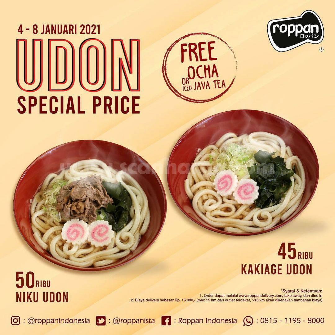 Roppan Promo Harga Spesial UDON ! Gratis Ocha atau Iced Java Tea