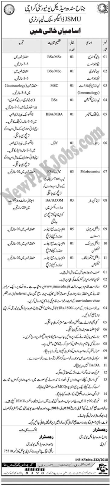 Jinnah Sindh Medical University Latest Jobs 15 Jan 2018