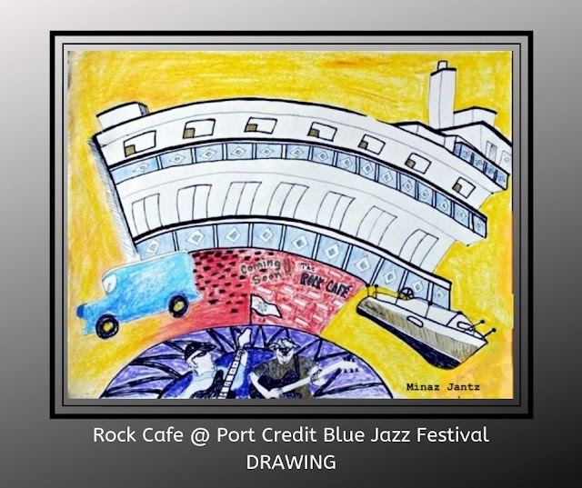 Rock Cafe sketch drawing by Minaz Jantz