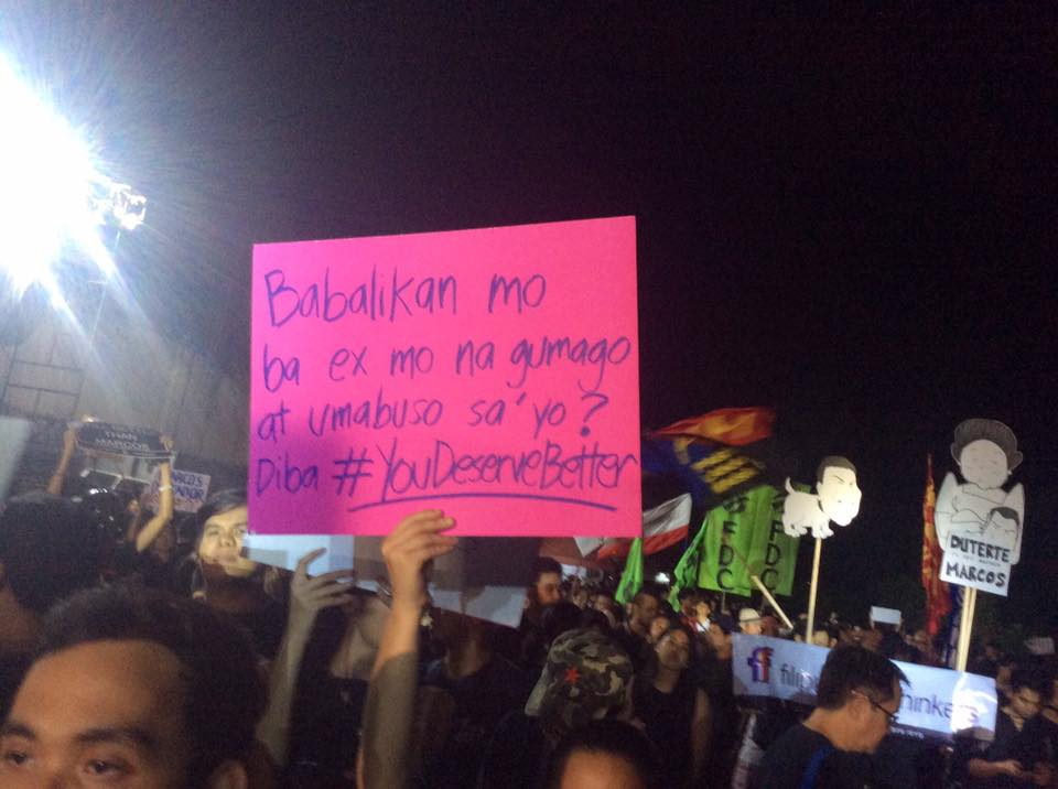 no to marcos protest placard
