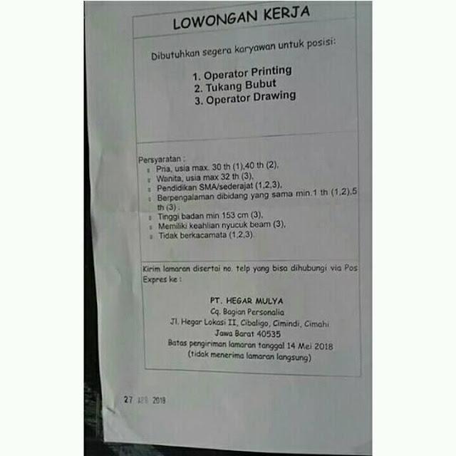 Loker PT. Hegar Mulya Cimahi
