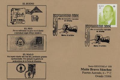 Tarjeta del matasellos de EXFIMIERES conmemorando los 50 años de matasellos asturianos