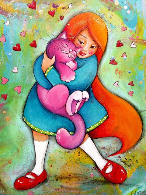 Artyshroo and her cat - a red-haired girl and a purple cat mixed media and acrylic intuitive art painting
