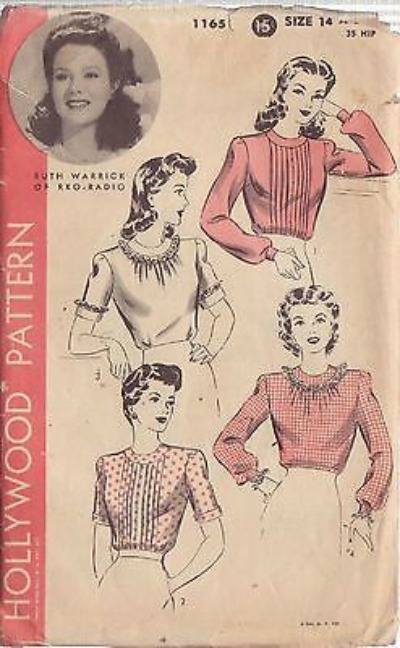 Dress Pattern depicting RKO Radio star Ruth Warrick for 1940's Hollywood Patterns