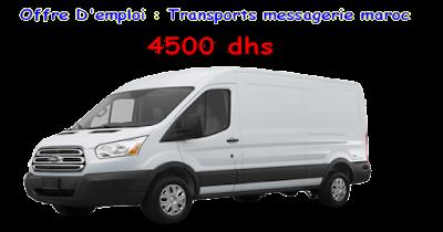 Offre D'emploi : Transports messagerie Maroc de 4500 DHs / mois