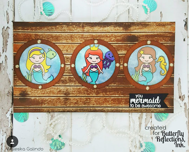 Sunny Studio Stamps: Magical Mermaid Porthole Card by Waleska Galindo