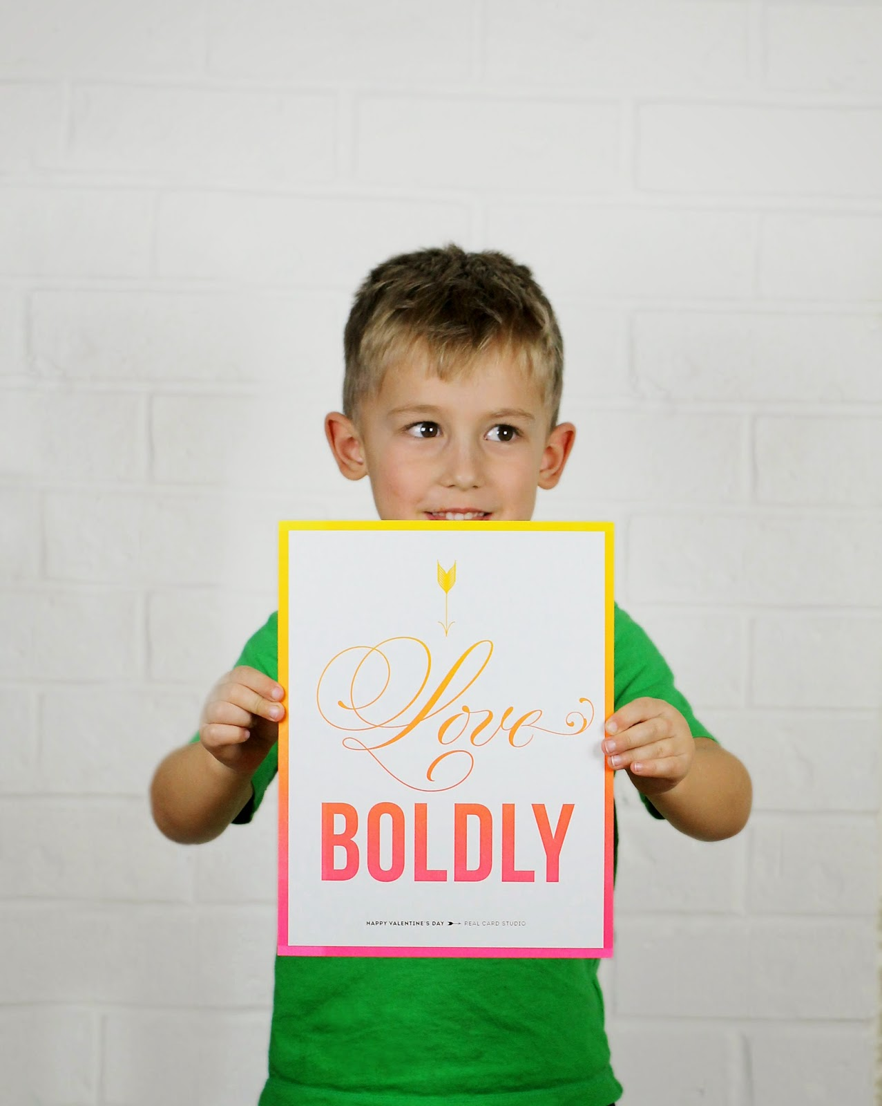 Boy holiding Love Boldly Valentine poster by Real Card Studio