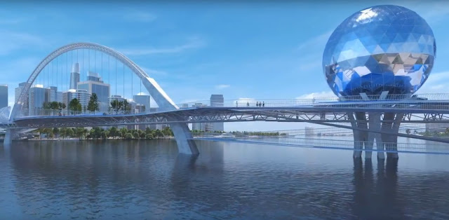 Phối cảnh nhìn từ dưới sông cầu đi bộ qua sông Sài Gòn