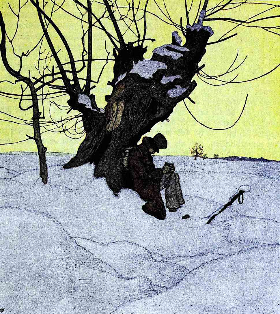 a 1906 illustration of a man resting under a tree in yellow sky winter