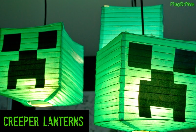 Minecraft Creeper Lanterns for a birthday party.