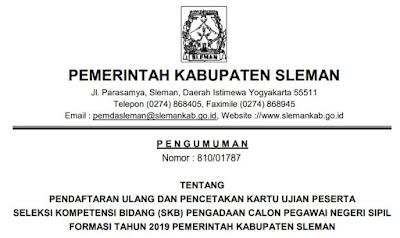 Pengumuman Pendaftaran Ulang Pencetakan Kartu Ujian SKB CPNS Kabupaten Sleman