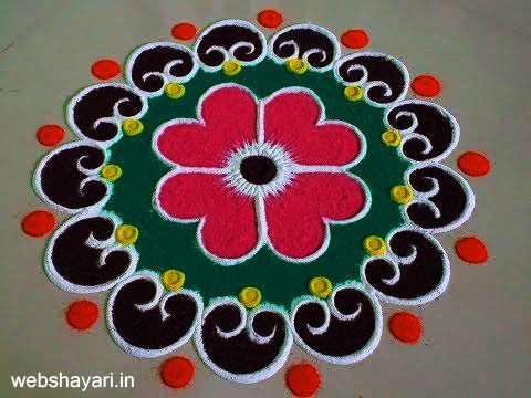 Simple Rangoli with Colours - सिंपल रंगोली डिजाइन विद कलर्स