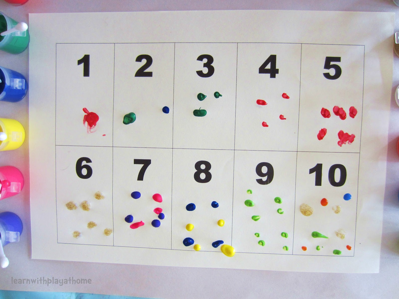 Learn With Play At Home Q Tip Cottonbud Painting Learning Numbers