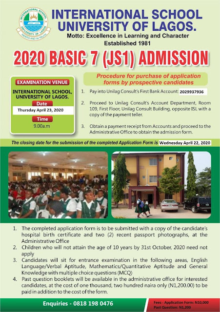 UNILAG International School Admission Form into JSS1 2020/2021