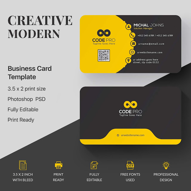 Creative Modern Business Card Template PhotoShop PSD Free Download.