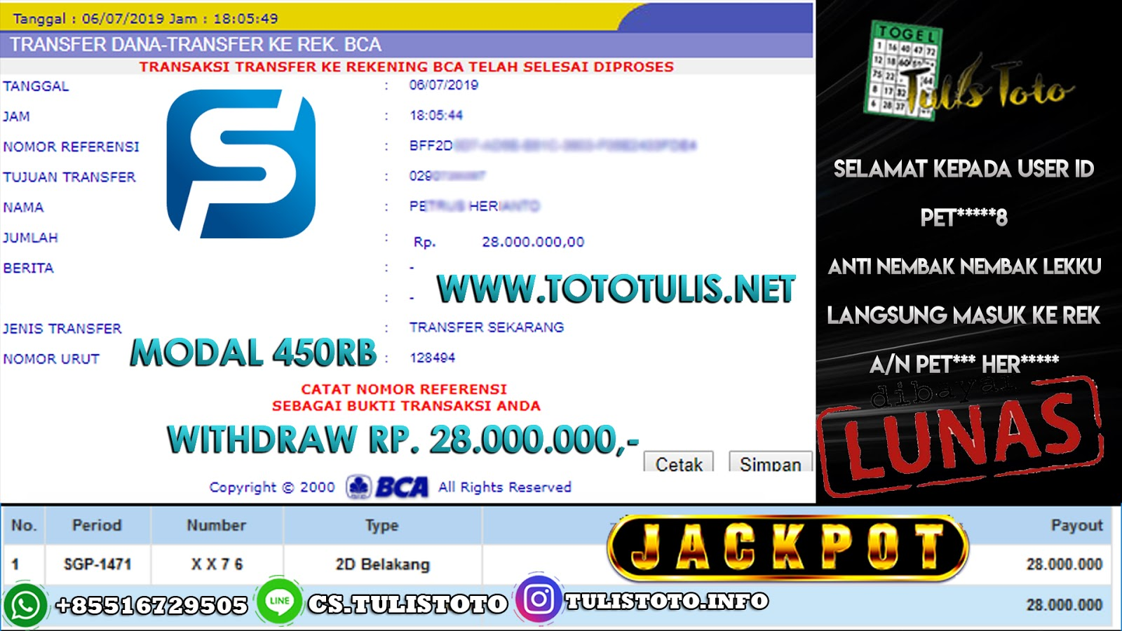 JACKPOT TOGEL 06 JULI 2019 2D SINGAPORE POOLS TULISTOTO MEMBER JP TOGEL 100% LANGSUNG DI BAYARKAN !!