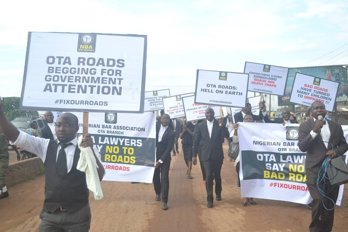 Nigeria Bar Association (NBA) Ota, Protest Againt BAD ROADS in Ota and Environs.