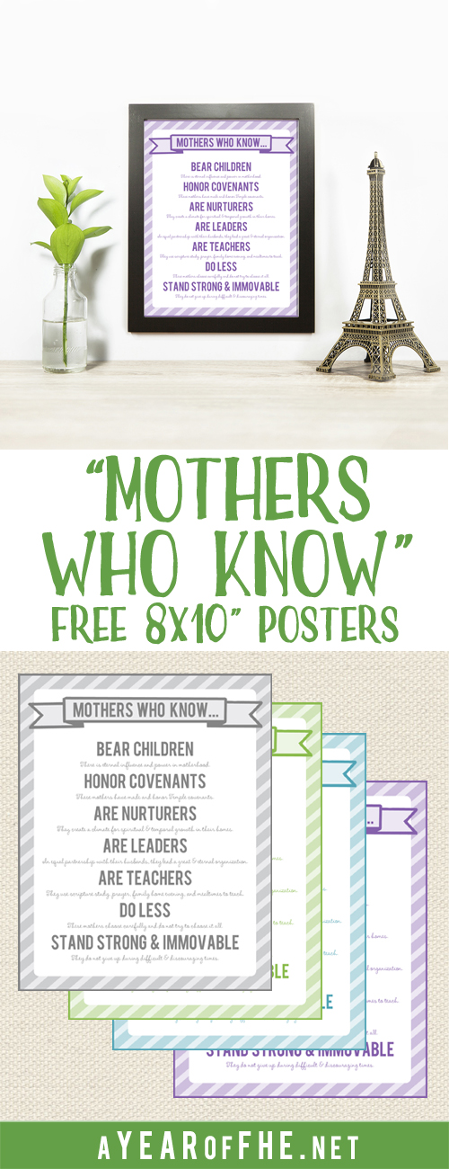 "Check out this free 8x10"" print from the LDS talk ""MOTHERS WHO KNOW"". It's available in 4 colors. Just print at home, trim, and frame! This would be a great Visiting Teaching gift.  #lds #reliefsociety"