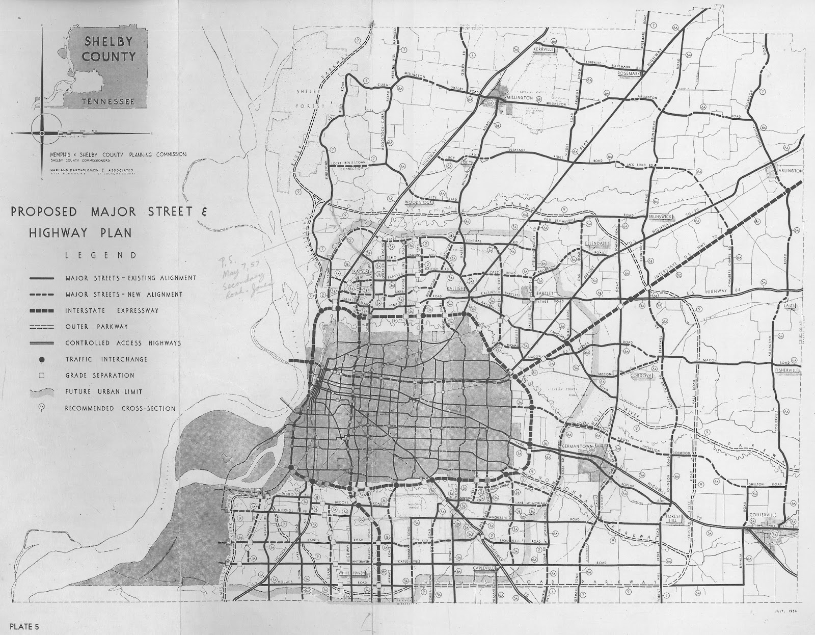 map no 10 harland bartholomew and associates was commissioned by the newly merged memphis and shelby county planning commission in 1956 to show proposed