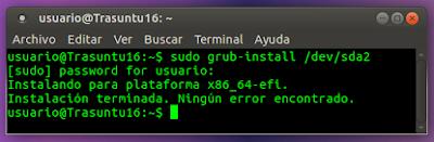 sudo grub-install /dev/sda2 Ningun error