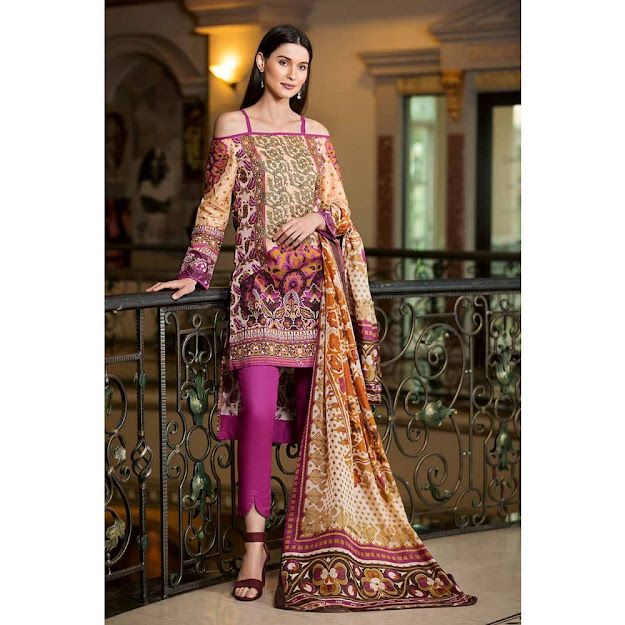 Gul Ahmed Lawn collection purple color printed embroidered suit