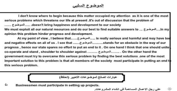 تدريب على كتابة موضوع في اللغة الإنجليزية للامتحان النهائي للصف السادس لعام 1442