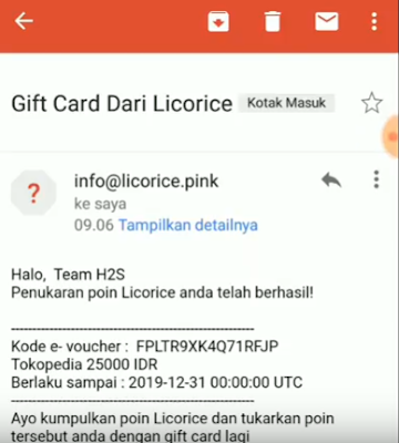 Voucher Gratis dari Aplikasi Licorice Android