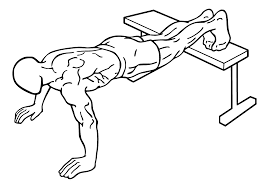 Elevated Push-ups. For this exercise Put your feet elevated, keep the form. Let's go for 20. if you weren't fatigued before, you should definitely be fatigued now. And that's why I have the last exercise to really tear those deep muscle fibers and increase that time under tension.