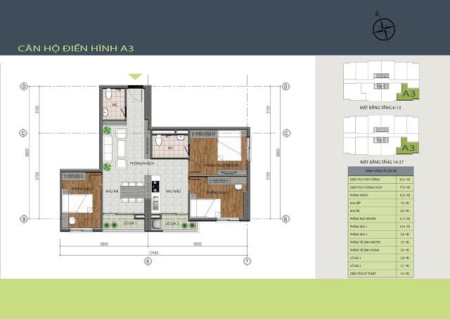Thiết kế căn hộ A3 Hồng Hà Tower