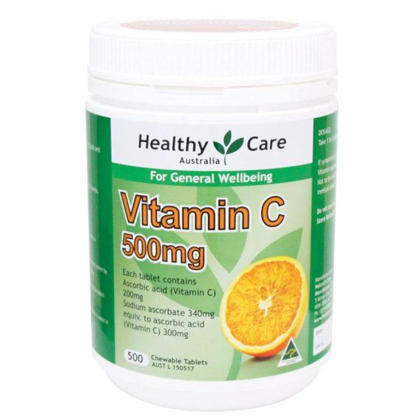 Viên nhai Vitamin C Healthy Care Chewable Tablet 500mg