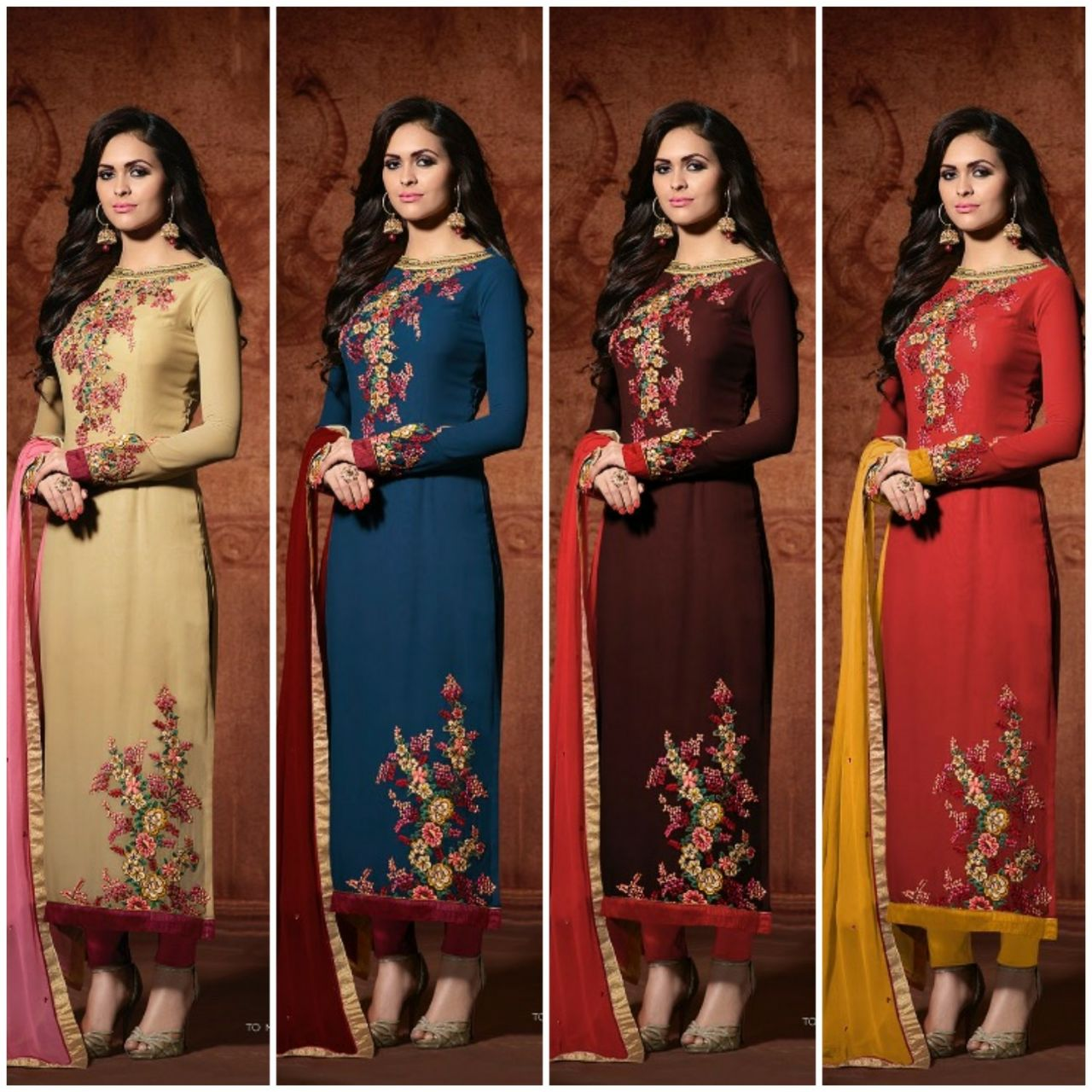 MUGDHA-102 COLOURS- Designer Georgette Semi Stitched Embroidery Salwar Suit
