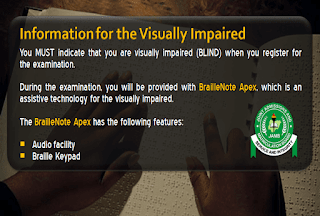 JAMB information for visually impaired