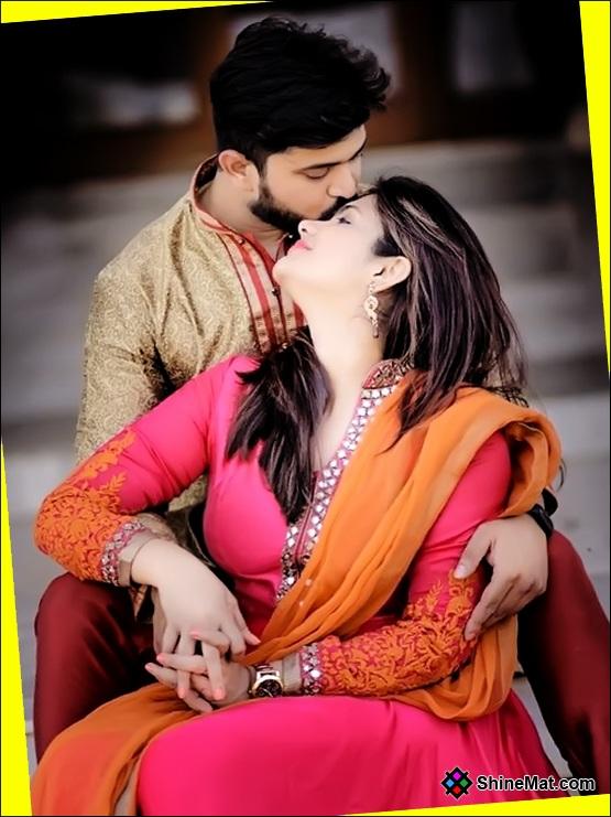 Husband Wife Romantic Bend Kissing Photo   ShineMat.com