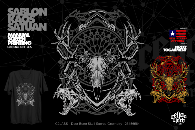C2LABS - Deer Bone Skull Sacred Geometry 123456564 Kaos Distro Unlimited Printed - Custom.web.id