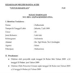 Contoh Surat Dakwaan Pidana