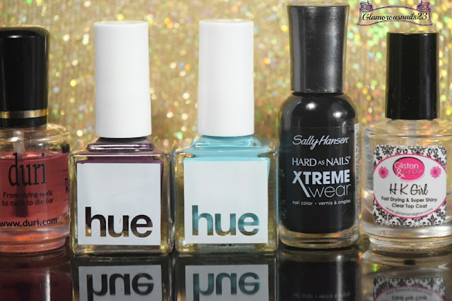 Duri Rejuvacote, Square Hue Vondelpark, Square Hue Waterland District, Sally Hansen Xtreme Wear Black Out, Glisten & Glow HK Girl Fast Drying Top Coat
