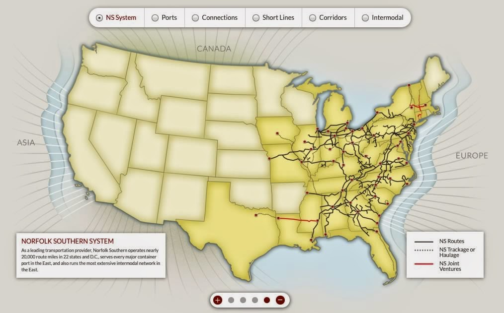 Infographics Maps Music And More Interactive USCanadian - Norfolk southern system map