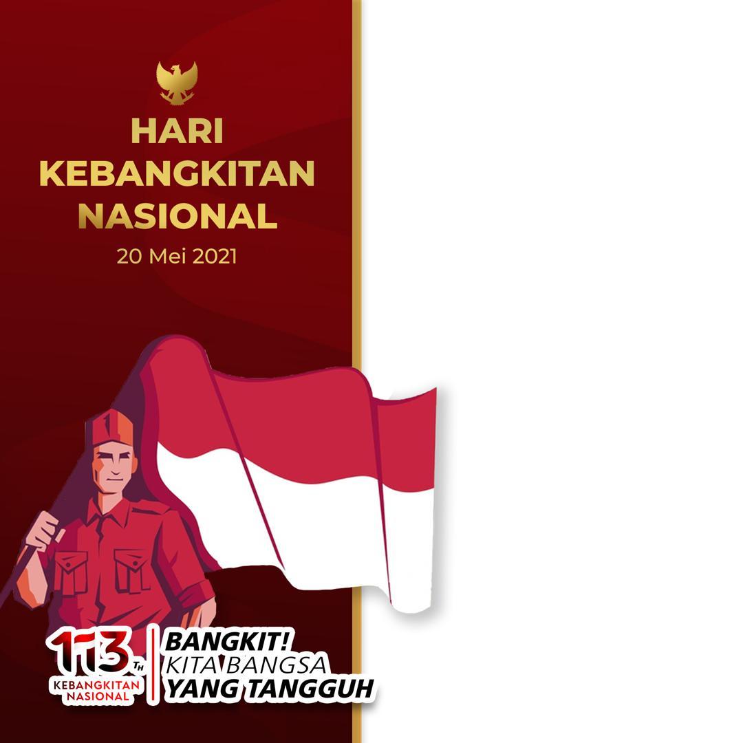 Download Twibbon Harkitnas 2021 - 113 th Kebangkitan Nasional dengan lambang Garuda san Bendera Merah Putih Twibbonize