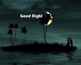 Good Night Wallpaper with Half moon & Couple Kissing