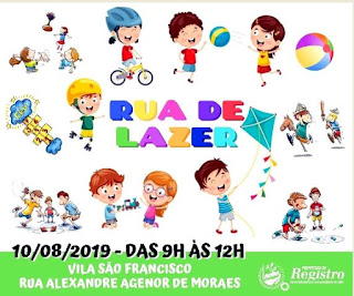 Sábado (10) terá Rua de Lazer na Vila São Francisco em Registro-SP