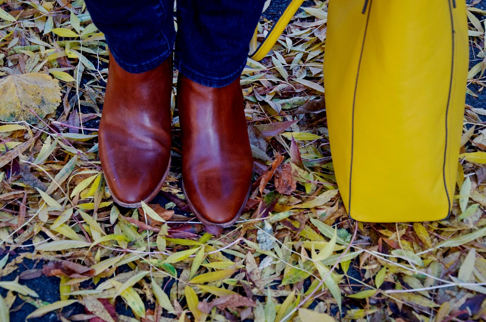 Yellow leaves, brown leather boots, mustard leather bag