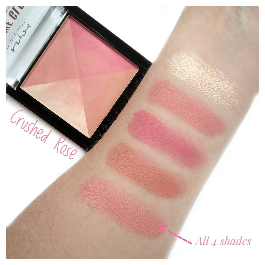 NYX Away We Glow Crushed Rose Swatches
